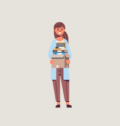 Businesswoman office worker holding box with stuff vector