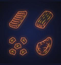 Butchers meat neon light icons set pork roast vector