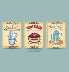 Card collection hand-drawn cakes vintage vector