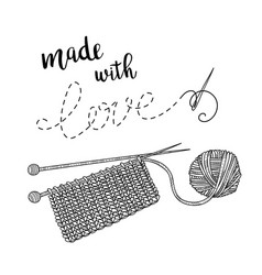 Card knitting theme with yarn and lettering vector