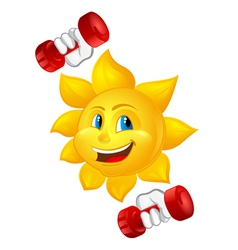 cartoon sun with dumbbells vector image