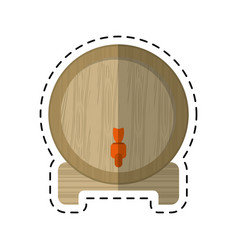 Cartoon wine barrel faucet wooden vector