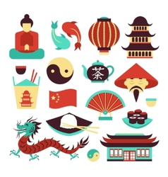 China symbols set vector image