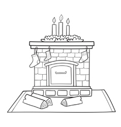 Christmas card with fireplace decorated socks for vector image