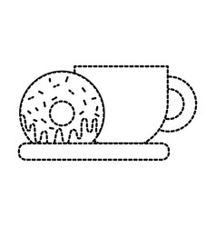 Coffee cup and sweet donut tasty food vector