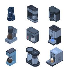 coffee maker icon set isometric style vector image