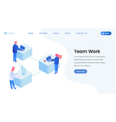 colleagues team work isometric landing page vector image