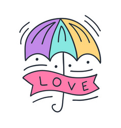 colorful umbrella with lettering love on doodle vector image