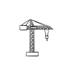 Construction crane hand drawn sketch icon vector