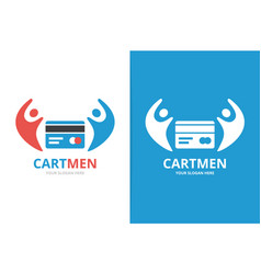 Credit card and people logo combination vector