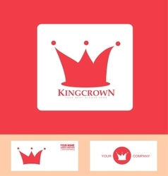 Crown logo red icon set vector image