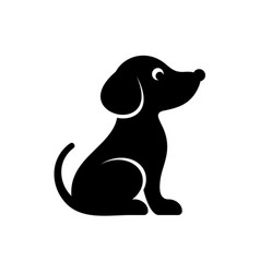 Cute black dog icon vector