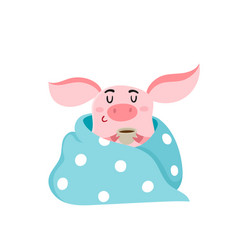 Cute pig with cup of coffee blanket isolated on vector