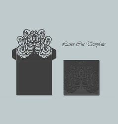 Die laser cut envelope template invitation vector