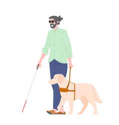 Disability blind person with guide dog vector