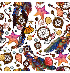 Ethnic feather seamless pattern in boho style vector