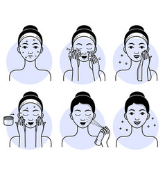 Face skincare set isolated woman vector