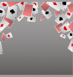 Falling playing cards isolate template for vector
