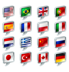 flag speech bubble icons buttons vector image
