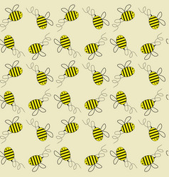 flying honey bees seamless pattern vector image