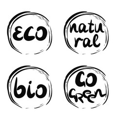 Four logo with inscription bio natural go green vector