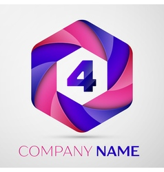 Four number colorful logo in the hexagonal on vector