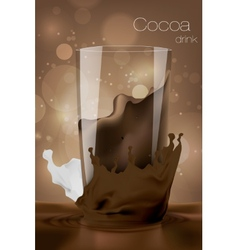 Glass of cocoa with milk in the coffee background vector image vector image