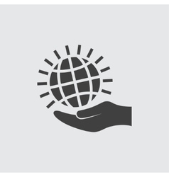 Globe on hand icon vector
