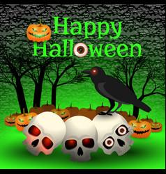 happy halloween cartoon poster vector image