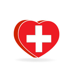 heart shape with medical cross vector image