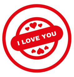 I love you stamp seal rounded icon vector