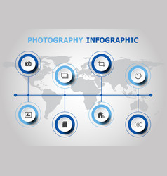 infographic design with photography icons vector image
