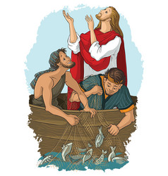 Jesus and the miraculous catch of fish vector