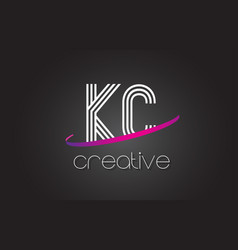 Kc k c letter logo with lines design and purple vector