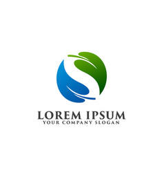 Letter s leaf logo design concept template vector