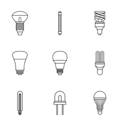 Lighting icons set outline style vector
