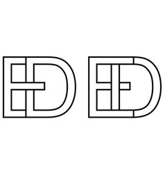 logo de ed icon sign two interlaced letters d e vector image
