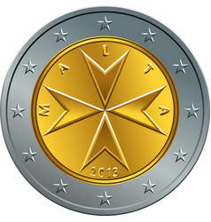 Maltese money gold euro coin two euro vector