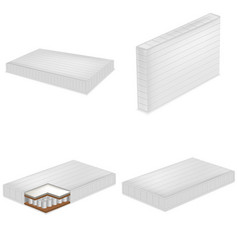 Mattress bedding bed mockup set realistic style vector