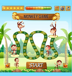 Monkey board game template vector
