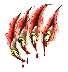 Monster claws bloody scratches colorful tattoo vector
