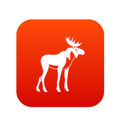 moose icon digital red vector image