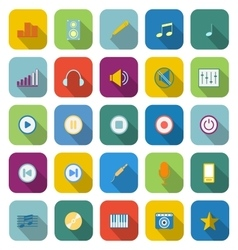 Music color icons with long shadow vector image