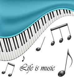Music text frame with notes and piano keys vector