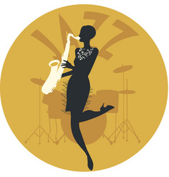 musical style jazz silhouette of flapper girl vector image