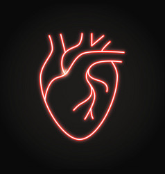 Neon human heart icon in line style vector