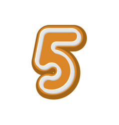 Number 5 gingerbread font peppermint honey-cake vector
