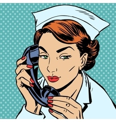 nurse reception Desk talking phone vector image