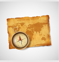 Old vintage antique world map and compass vector