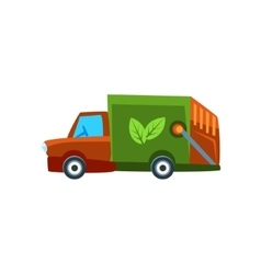 Orange Garbage Truck Toy Cute Car Icon vector image